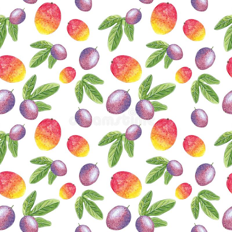 Mangue et passiflore comestible de passiflore avec le mod?le sans couture de feuilles, illustration d'aquarelle illustration stock