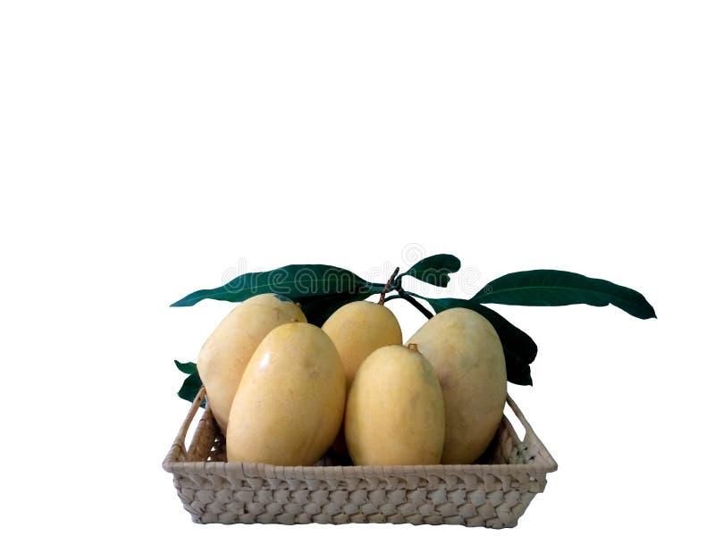 Mangue mûre jaune fraîche dans le panier avec la feuille d'isolement sur le fond blanc image libre de droits