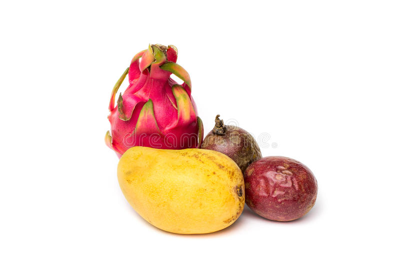 Mangue, passionfruit deux et pitahaya images libres de droits