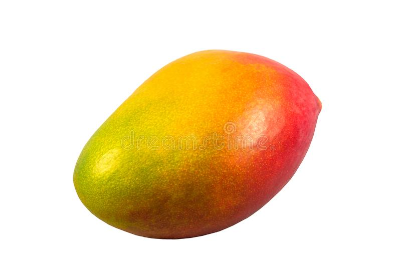 Mangue rouge et jaune mûre d'isolement sur un fond blanc photos libres de droits