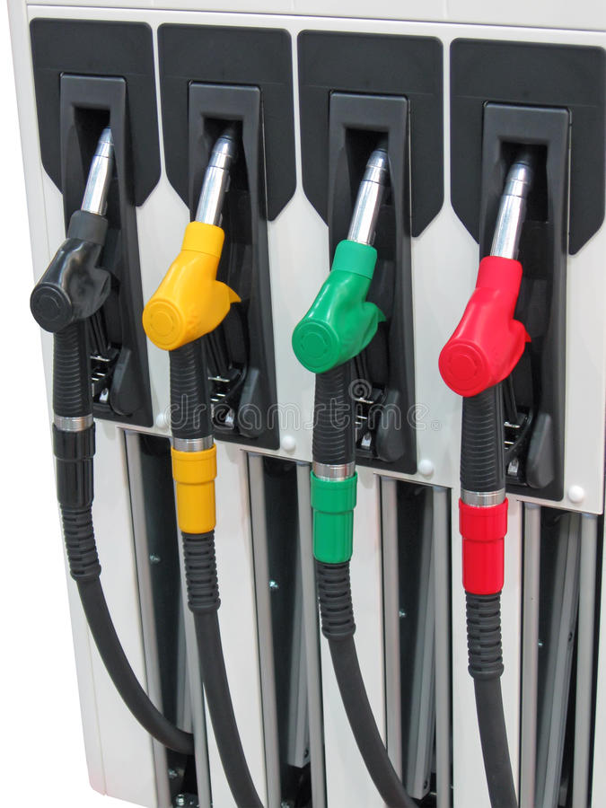 Mangueira de combustível colorida do carro, conceito da indústria, fotos de stock royalty free