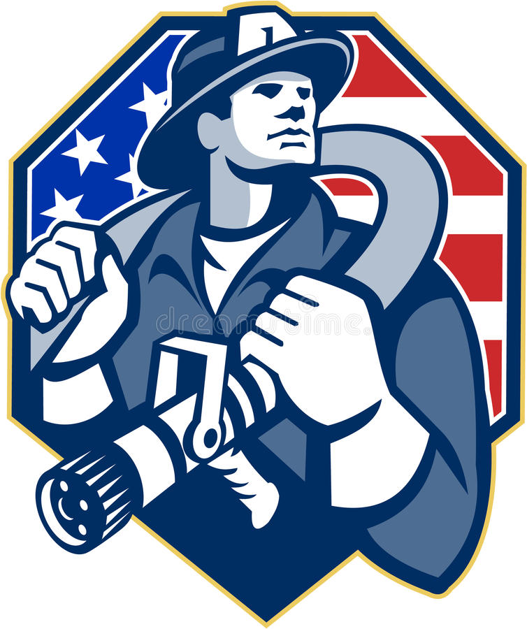 Manguera de bomberos americana del bombero del bombero retra stock de ilustración