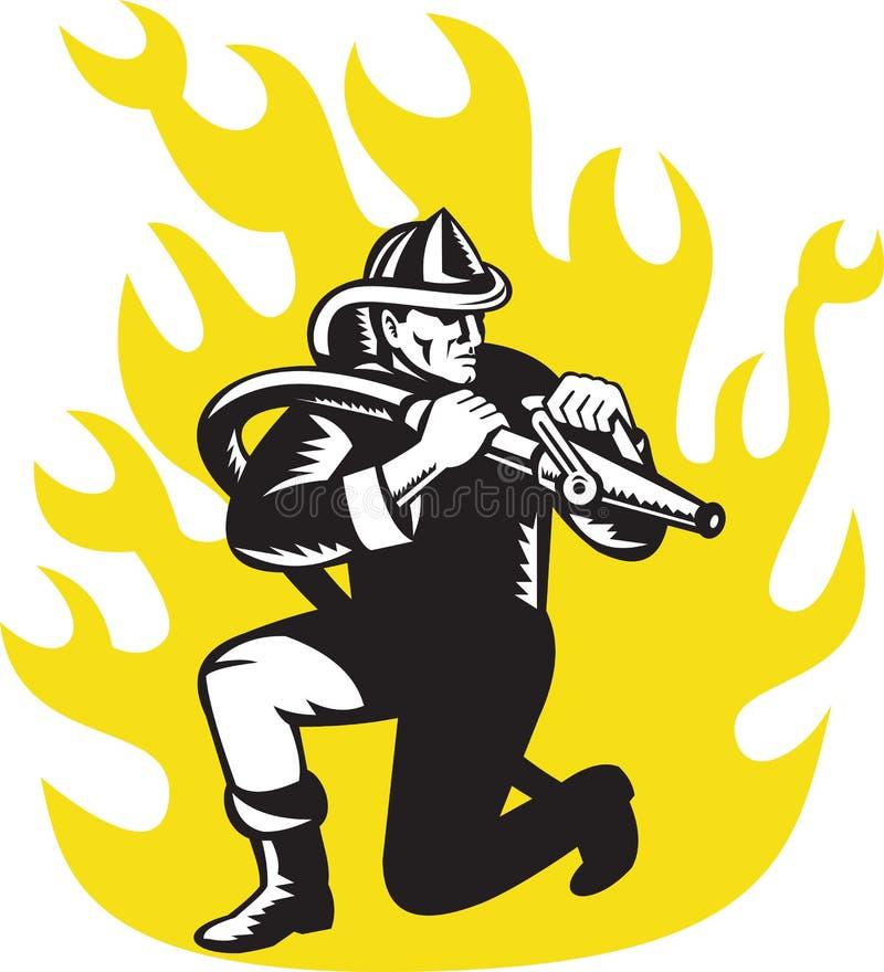Manguito de fuego de la puntería de la genuflexión del bombero del bombero ilustración del vector