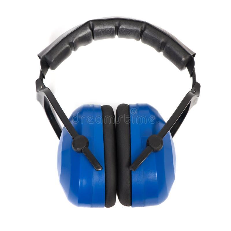 Manguitos azules del oído de la protección de oído fotografía de archivo