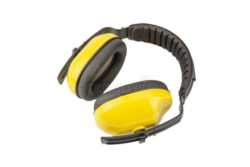 Manguitos protectores del oído aislados en el fondo blanco fotografía de archivo