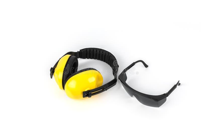 Manguitos protectores del oído y gafas protectoras imagenes de archivo