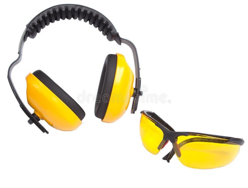 Manguitos y gafas del oído de la protección foto de archivo libre de regalías