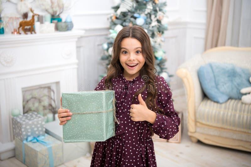 A manhã antes do Xmas Feriado do ano novo Ano novo feliz menina feliz pequena no Natal Natal A criança aprecia imagens de stock royalty free