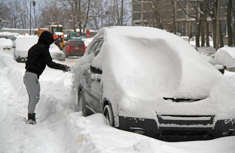 Manhã após a tempestade de neve do inverno fotografia de stock royalty free