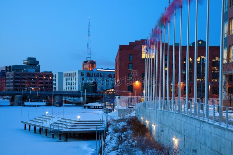 Manhã azul em Milwaukee fotografia de stock royalty free