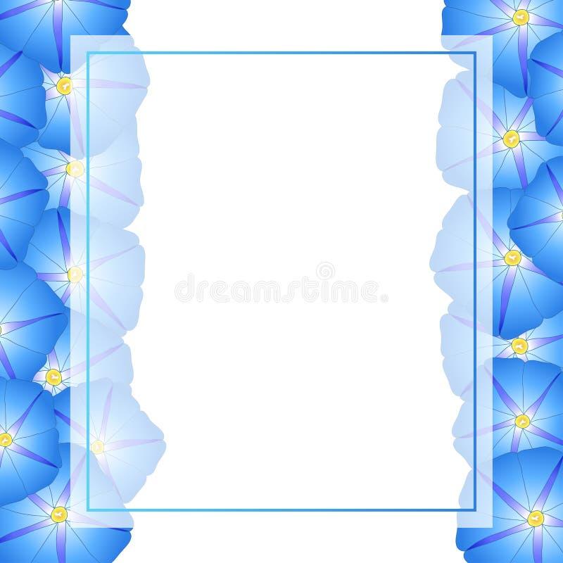 Manhã azul Glory Flower Banner Card Border Ilustração do vetor ilustração do vetor