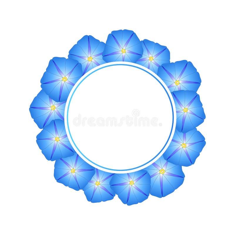 Manhã azul Glory Flower Banner Wreath Ilustração do vetor ilustração stock