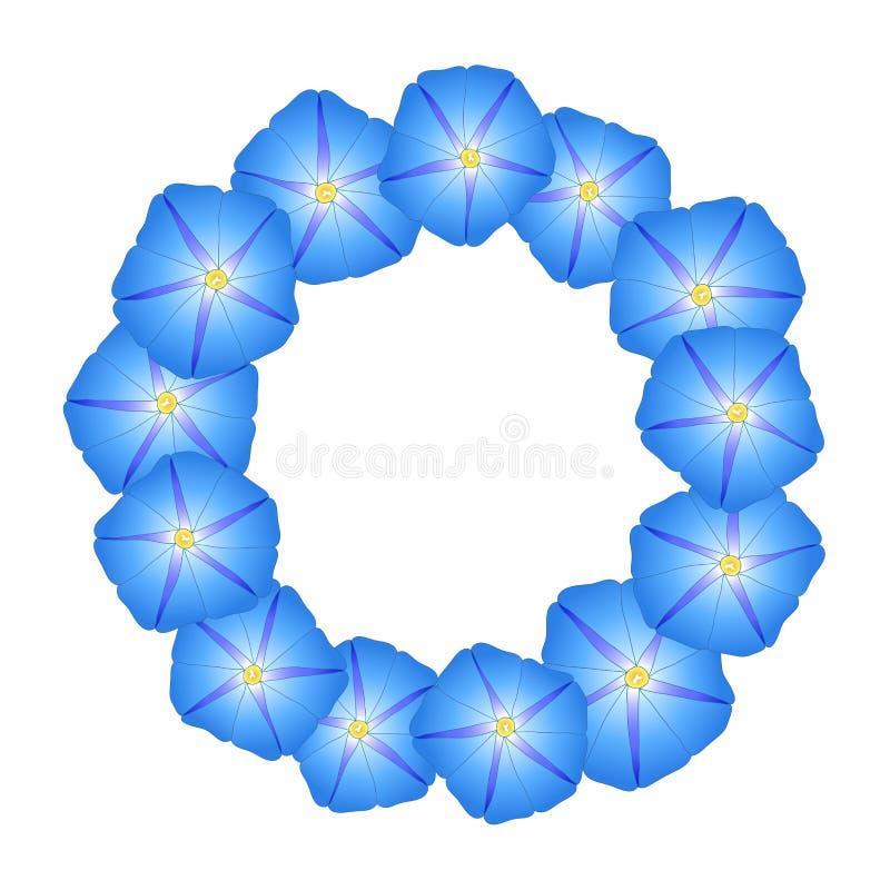 Manhã azul Glory Flower Wreath Ilustração do vetor ilustração do vetor