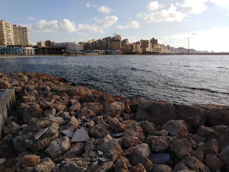 A manhã bonita do mar Mediterrâneo imagem de stock