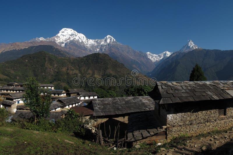 Manhã bonita em Ghandruk fotos de stock