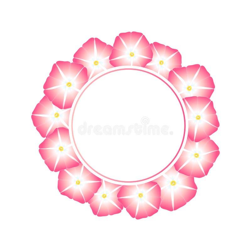 Manhã cor-de-rosa Glory Flower Banner Wreath Ilustração do vetor ilustração do vetor
