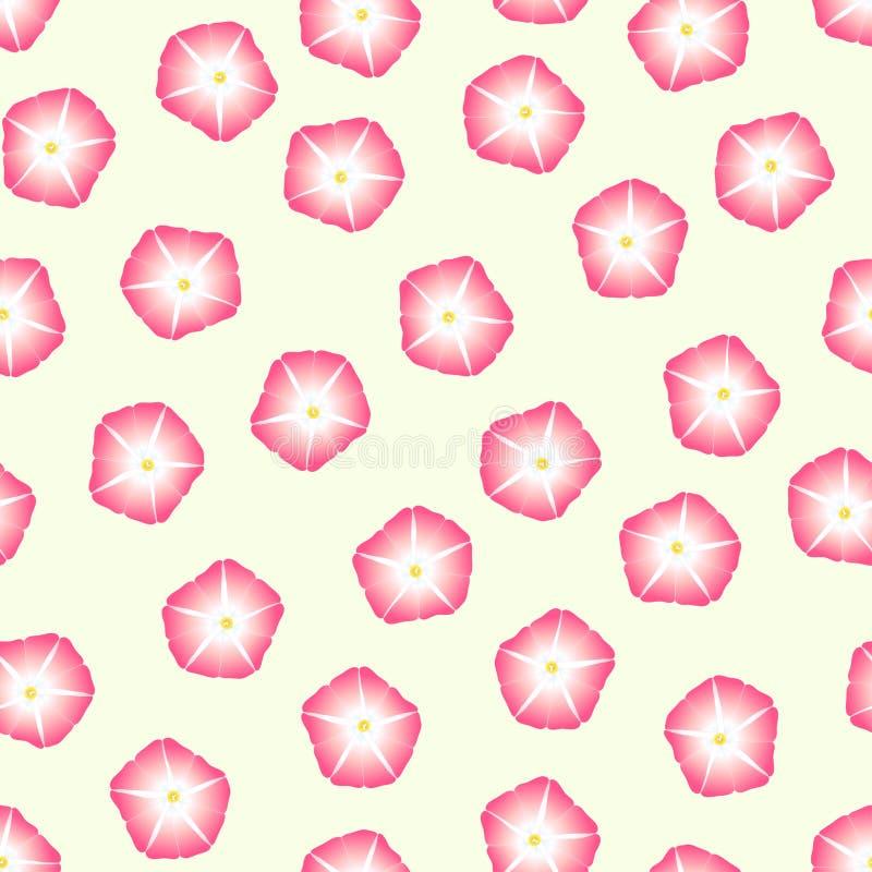 Manhã cor-de-rosa Glory Flower no fundo bege do marfim Ilustração do vetor ilustração do vetor