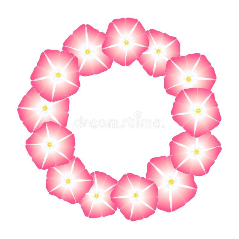 Manhã cor-de-rosa Glory Flower Wreath Ilustração do vetor ilustração royalty free