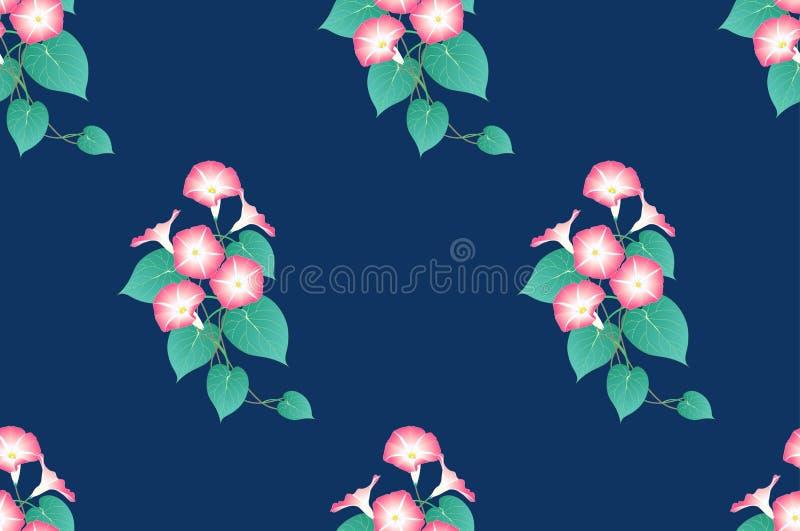 Manhã cor-de-rosa Glory Seamless no fundo do azul de índigo Ilustração do vetor ilustração royalty free