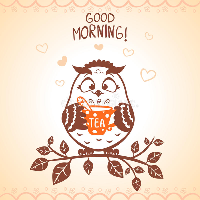 Manhã da coruja ilustração stock