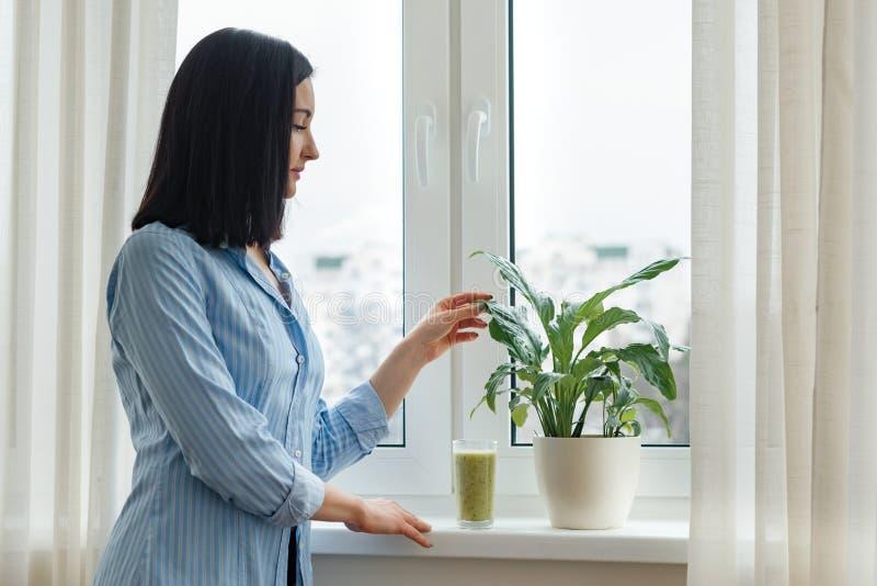 Manhã da jovem mulher em casa perto da janela que bebe o batido de fruta verde recentemente misturado do quivi no vidro, bebida d imagens de stock