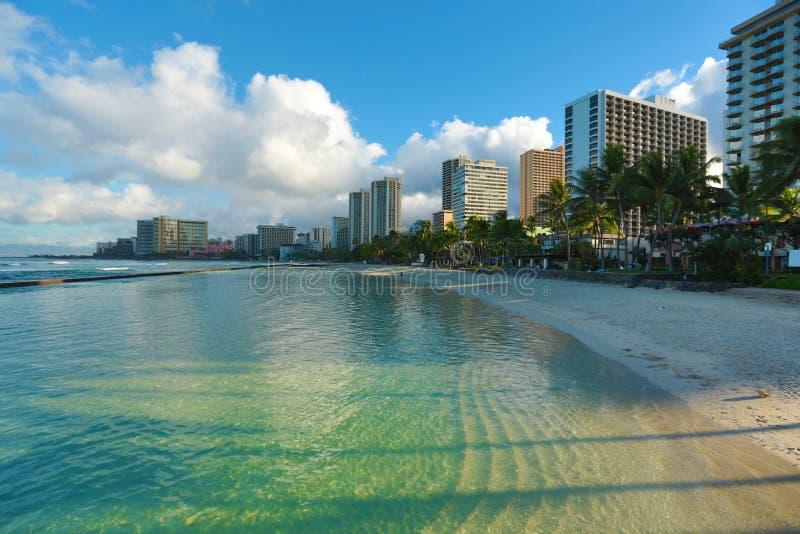 Manhã da praia de Waikiki imagem de stock