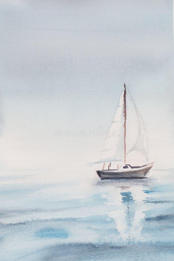 Manhã do mar da aquarela um barco ilustração stock
