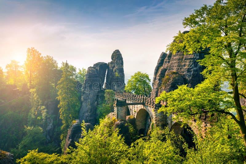 Manhã enevoada no penhasco do arenito em Suíça de Saxony com fibra foto de stock royalty free