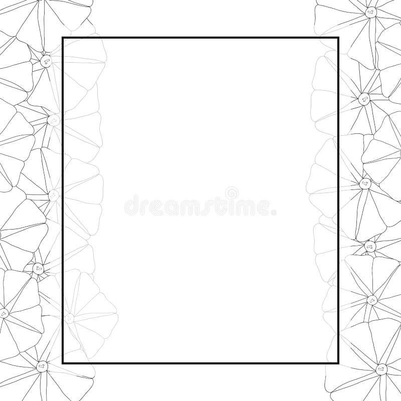 Manhã Glory Flower Outline Banner Card Ilustração do vetor ilustração stock