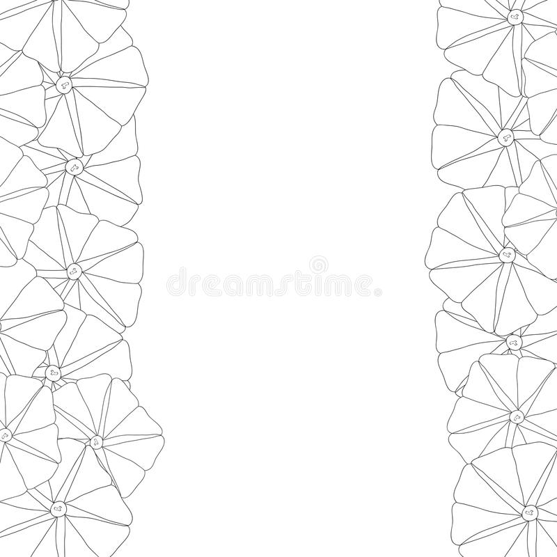 Manhã Glory Flower Outline Border Ilustração do vetor ilustração stock