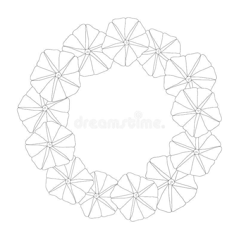 Manhã Glory Flower Outline Wreath Ilustração do vetor ilustração royalty free