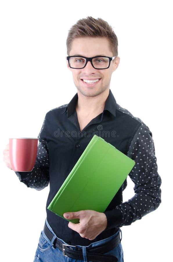 Manhã Homem considerável que guarda a tabuleta Alegria e felicidade fotografia de stock