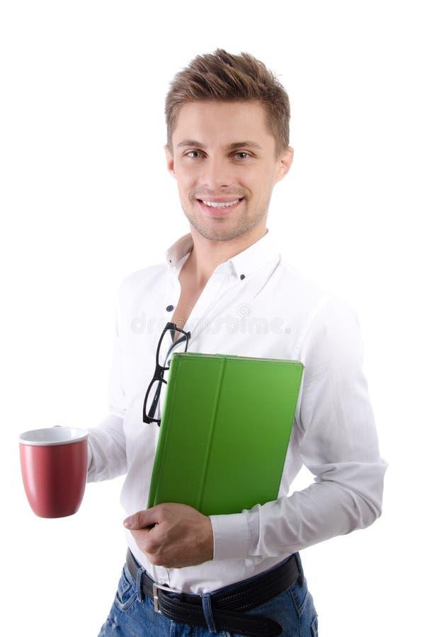 Manhã Homem de negócios feliz novo que guarda uma tabuleta fotografia de stock royalty free