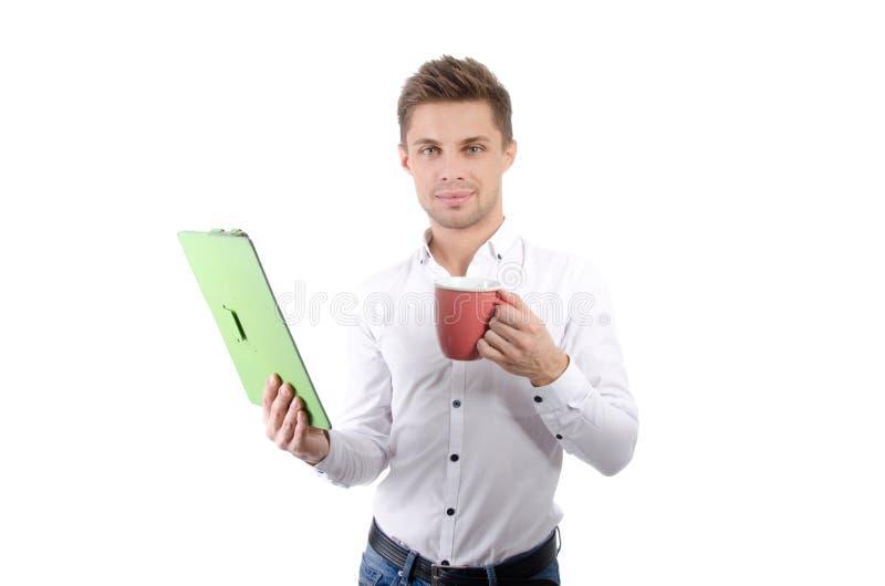 Manhã Homem de negócios feliz novo que guarda uma tabuleta imagem de stock