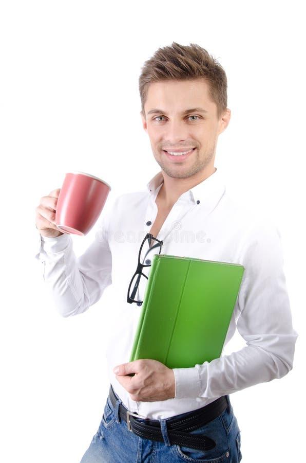 Manhã Homem de negócios feliz novo que guarda uma tabuleta fotografia de stock