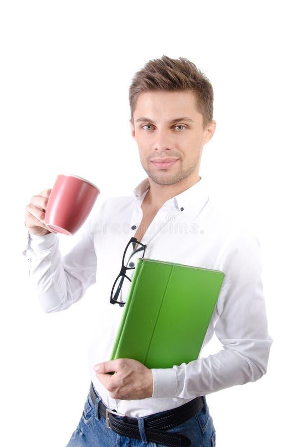 Manhã Homem de negócios feliz novo que guarda uma tabuleta imagens de stock royalty free