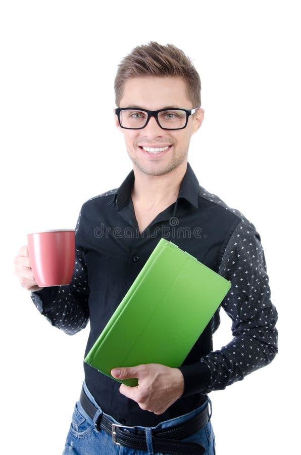 Manhã Homem de negócios feliz novo que guarda uma tabuleta imagens de stock