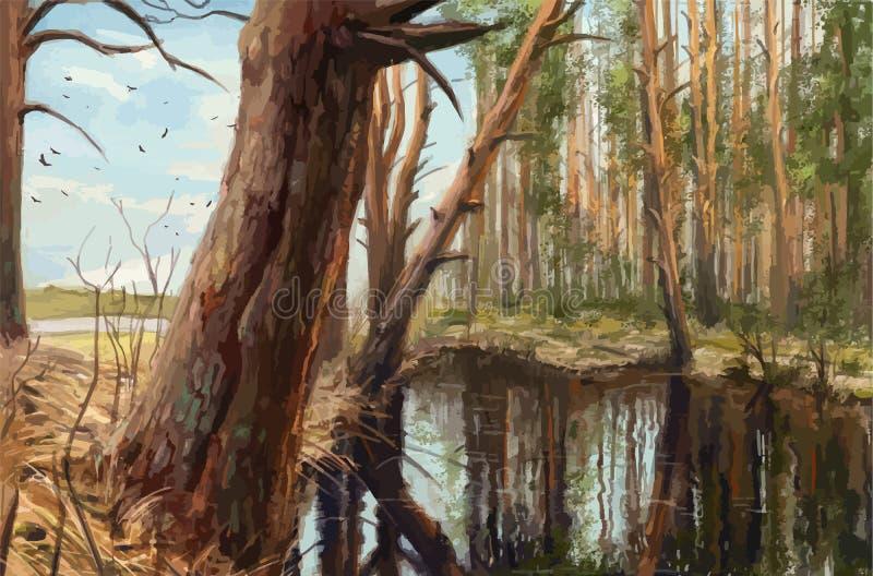Manhã na floresta do pinho, pintura realística ilustração stock