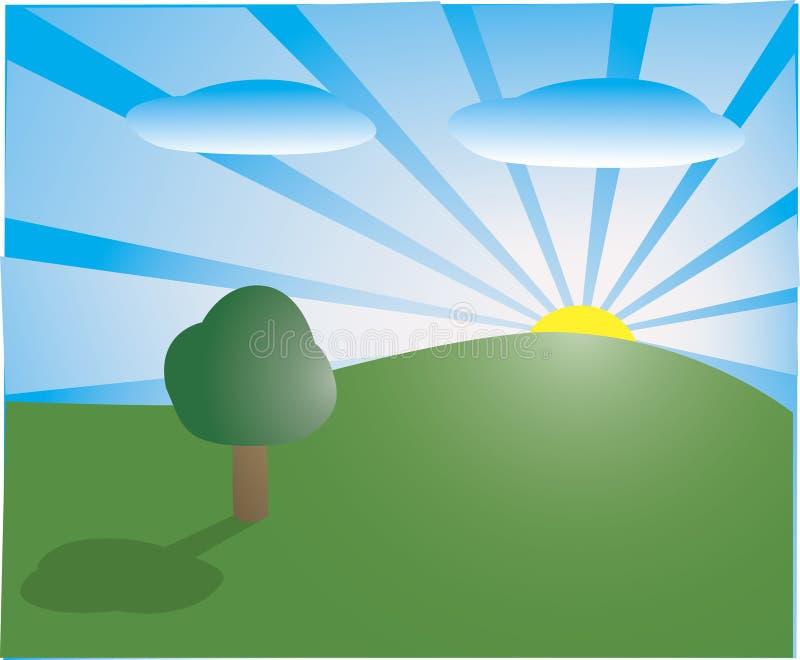 Manhã na paisagem ilustração do vetor