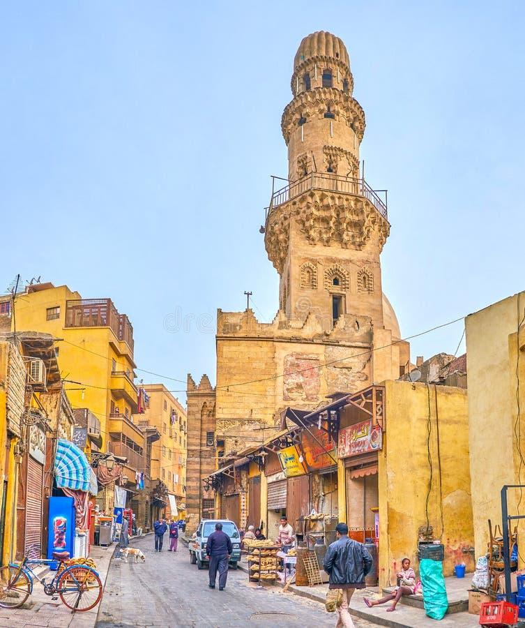 A manhã na vizinhança histórica no Cairo, Egito fotos de stock
