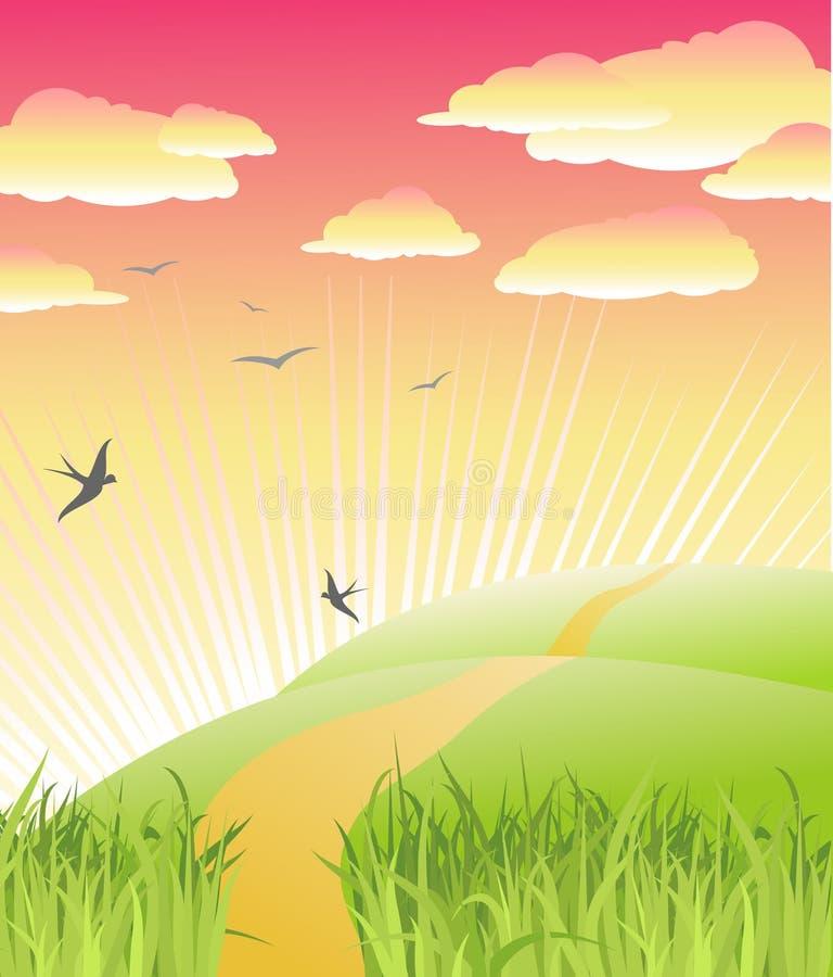 Manhã/natureza/vetor bonitos ilustração do vetor