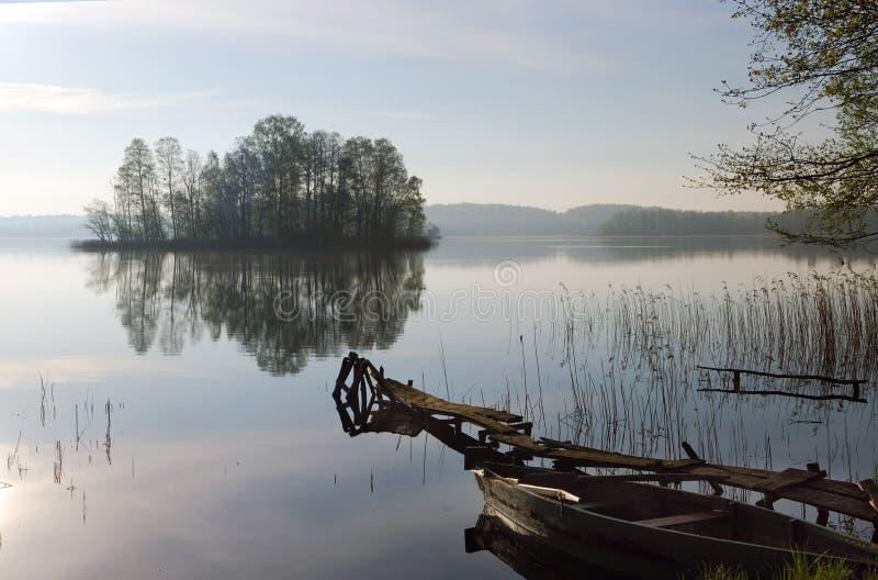 Manhã nevoenta no lago imagens de stock royalty free