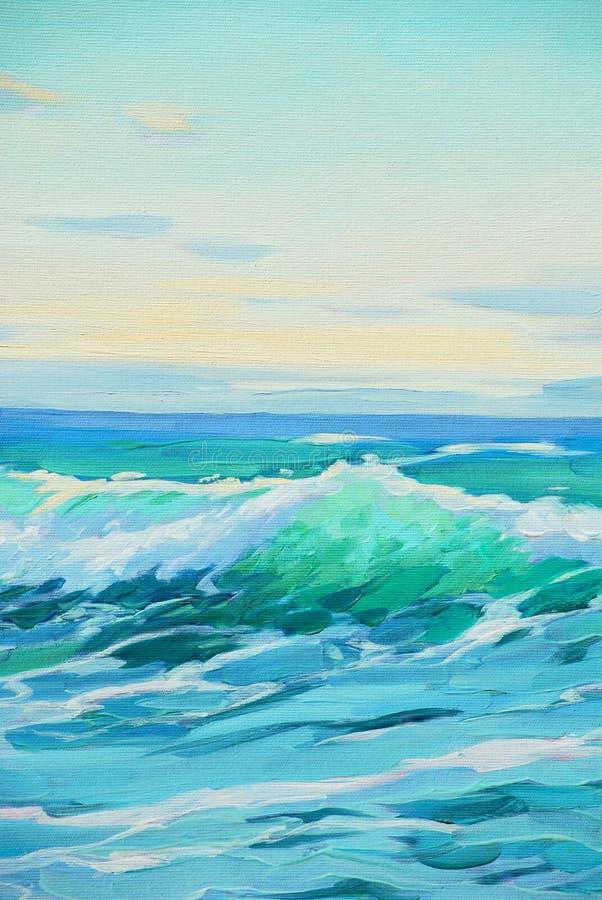 Manhã no mar Mediterrâneo, onda, ilustração ilustração royalty free