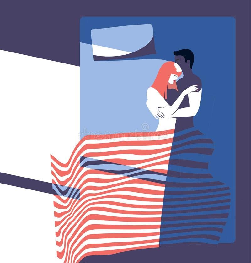 Manhã nova dos pares no quarto ilustração royalty free