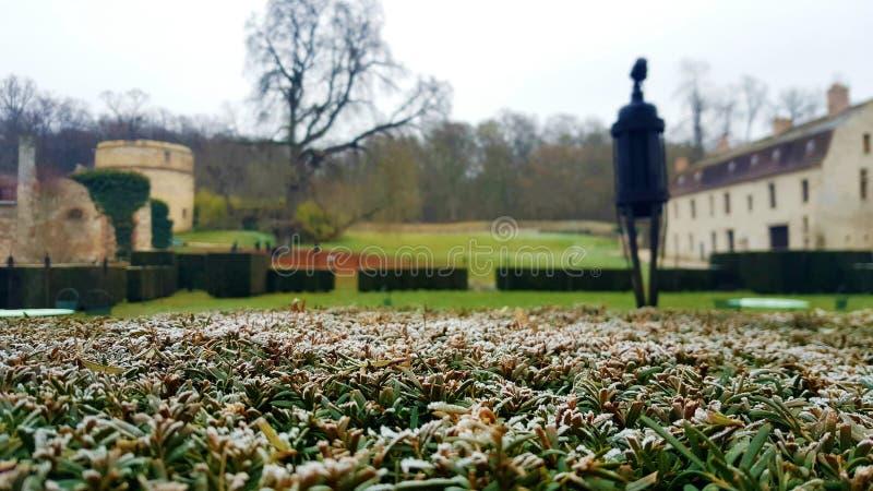 Manhã parisiense do inverno frio no lado do país imagem de stock