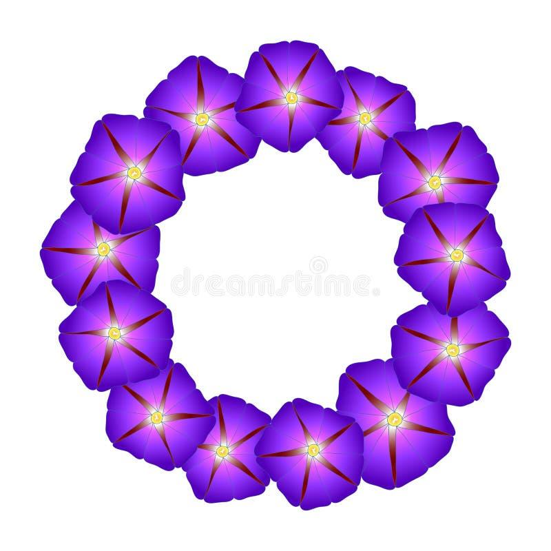 Manhã roxa Glory Flower Wreath Ilustração do vetor ilustração do vetor