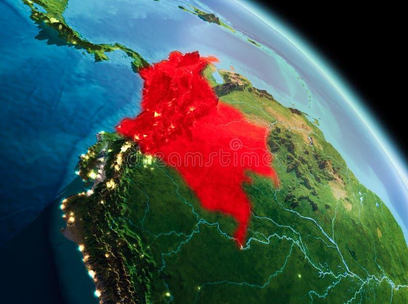 Manhã sobre Colômbia na terra ilustração royalty free