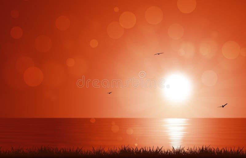 Manhã Sun no mar ilustração do vetor