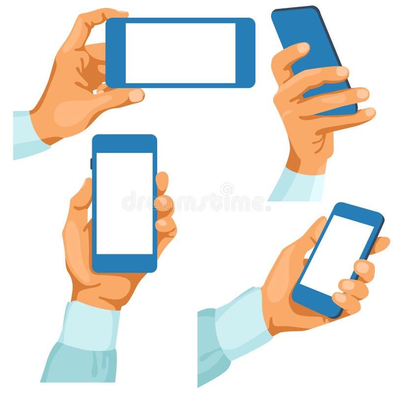 Manhänder med telefoner i dem vektor illustrationer