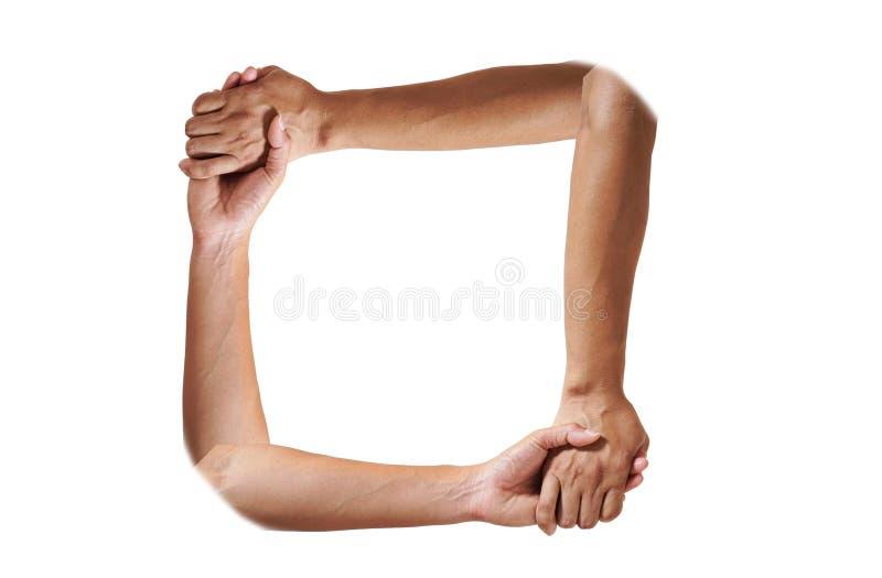 Manhänder som gör ramen att göra en gest på vit bakgrund med kopieringsutrymme royaltyfri fotografi